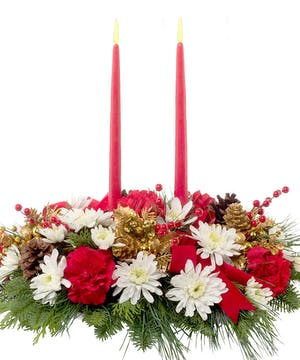 Christmas centerpiece with candles