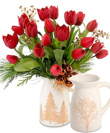 Red Tulips in ceramic holiday pitcher