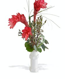 """8"""" tall nut and bolt vase with tropicals"""