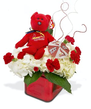 Cardinal Beanie bear in red glass cube