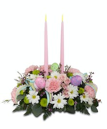 Two candle Easter centerpiece arrangement