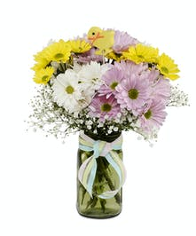 Easter Daisies in colorful mason jar vase