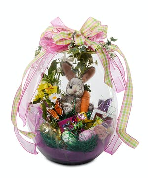 "Large 18"" tall glass egg filled with Easter goodies and a plush bunny"