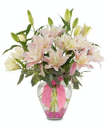 Rose Lilies in a glass athena vase