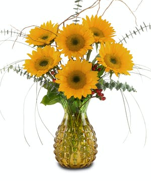 One of a kind glass pineapple vase  with Sunflowers