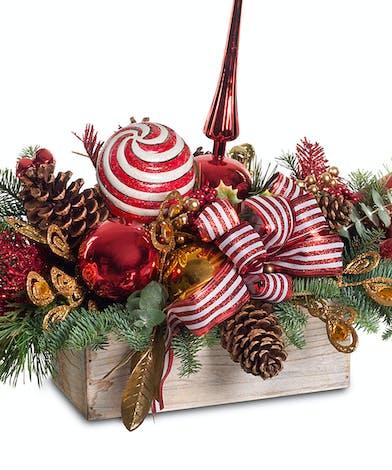 Wooden planter box Christmas centerpiece