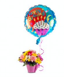 Birthday arrangement cup with balloon