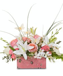 Roses and Lilies in our vintage-inspired distressed ceramic draw container.