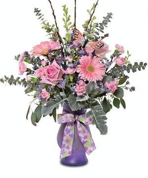 Beautiful bella style vase with pastel spring mix