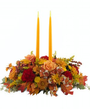 Thanksgiving Pumpkin centerpiece with candles