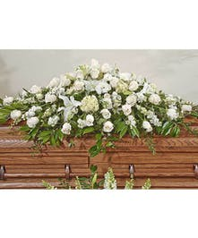 Walter Knoll Florist Elegant White Full Casket Display