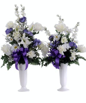 Walter Knoll Florist Purple and White Cemetery Cone