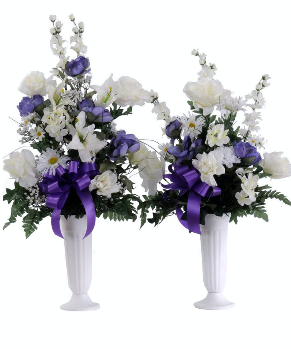 About Silk Purplewhite Cemetery Cone From Walter Knoll Florist