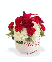 Baseball arrangement with Cardinal bird