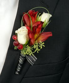 Boutonniere with Peruvian Lilies