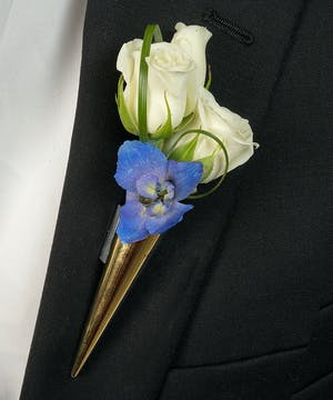 Boutonniere with Delphinium and Roses