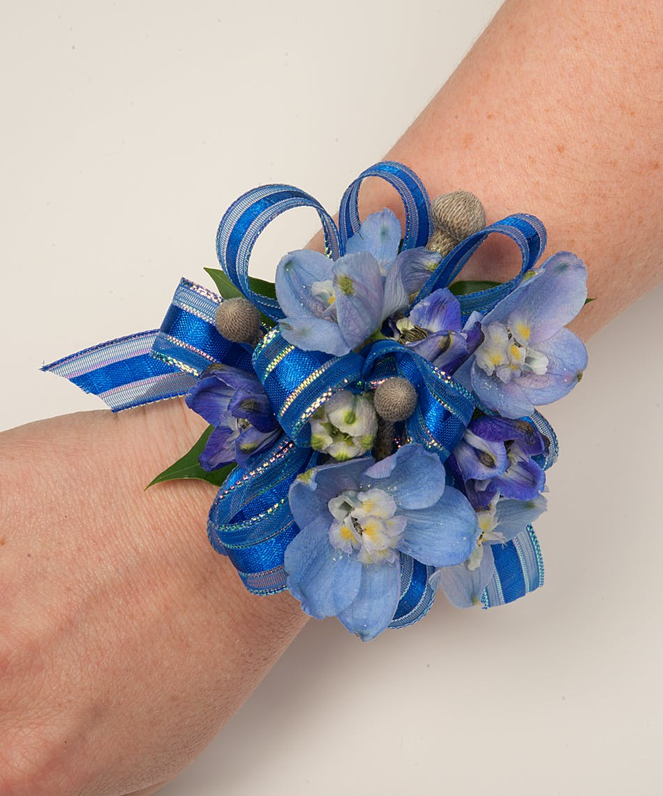 About Blue Blooms Corsage From Walter Knoll Florist In Saint Louis Mo