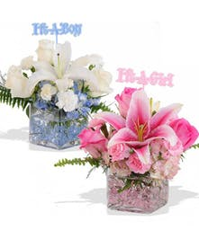Boy or Girl Arrangement in Glass Cube