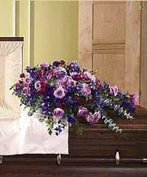 Sympathy Casket Lid Cover Shades of Purple