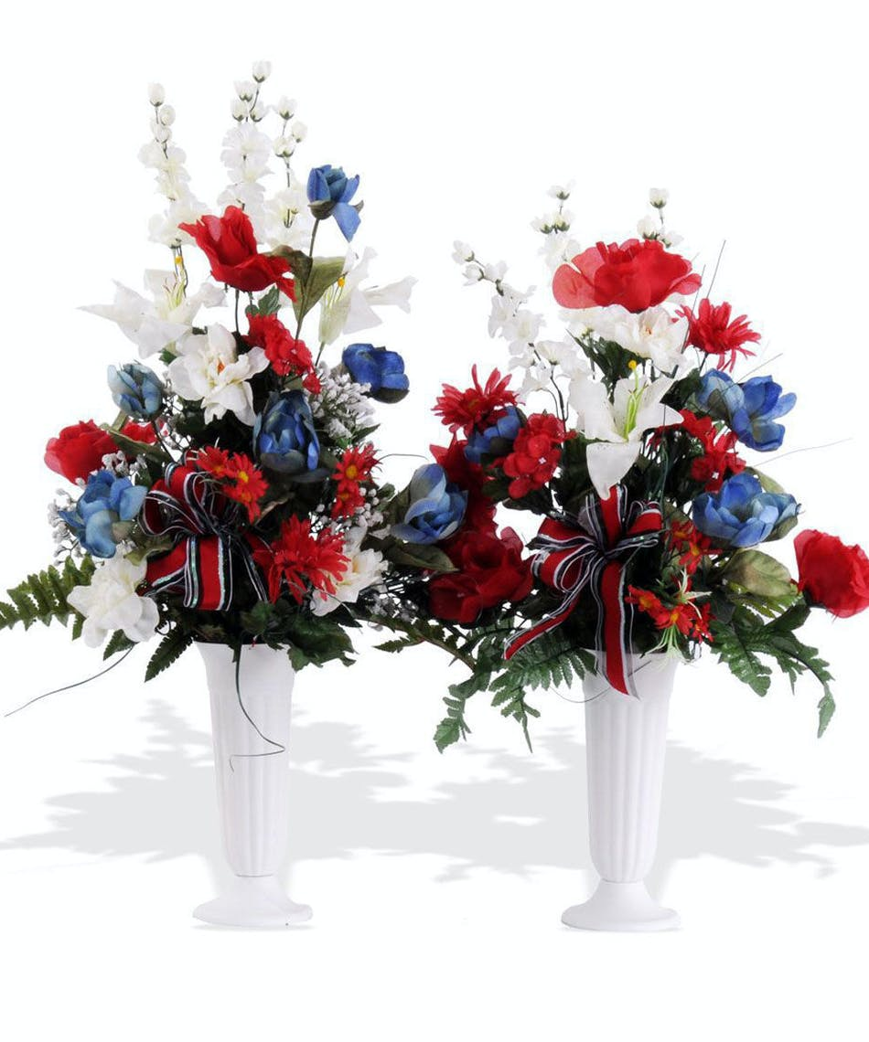 About Patriotic Silk Cemetery Cone From Walter Knoll Florist St