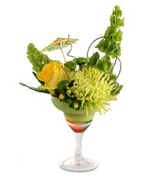 Walter Knoll Florist Yellow Parrot Cocktail Flower Arrangement in  Margarita Glass
