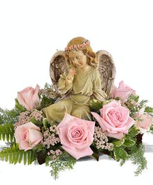 Seated Angel w Pink Roses
