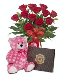 Plush bear, box of chocolate and 12 Roses