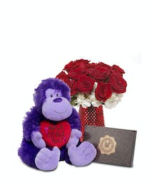 Purple ape, box of chocolate and 12 short-stemmed Roses