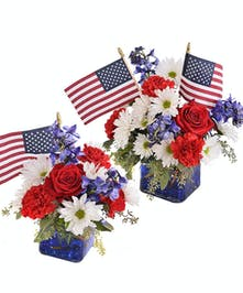 Red White and Blue flowers with an American Flag