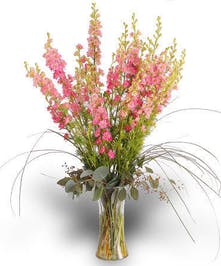 Pink Larkspur in Recycled Glass Vase