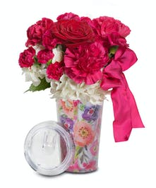 Travel mug with Roses and Carnations