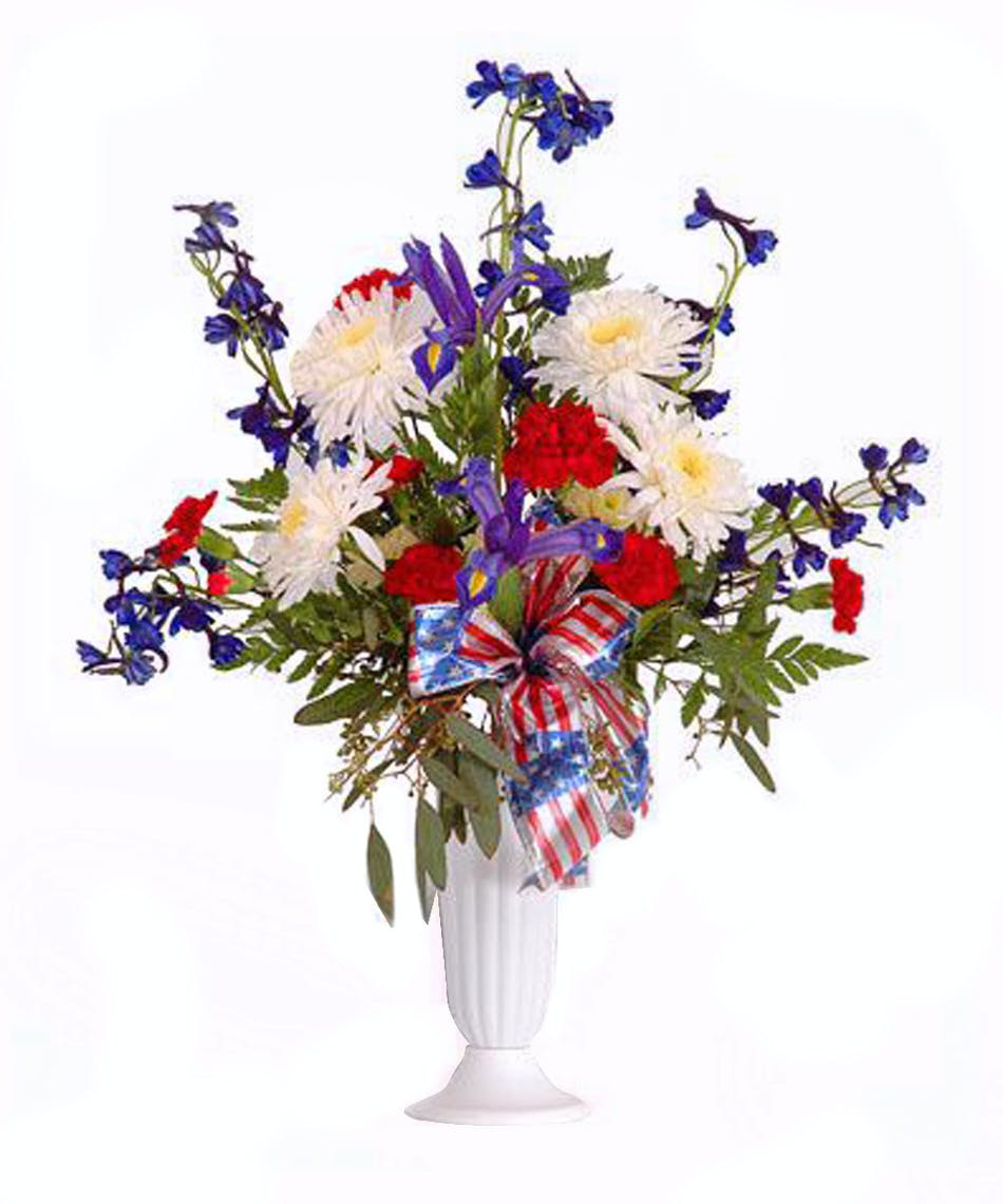 Walter Knolls Red White And Blue Cemetary Cone Bouquet