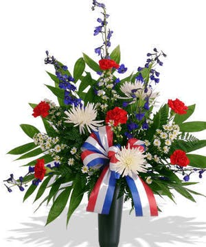 Patriotic Summer Blossoms Cemetery Cone