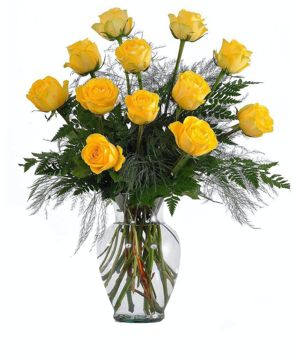 12 (one dozen) yellow long stemmed roses delivered same day