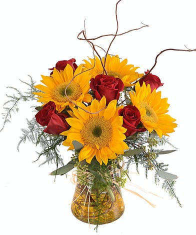 Walter Knoll Florist Roses and Sunflowers Bouquet